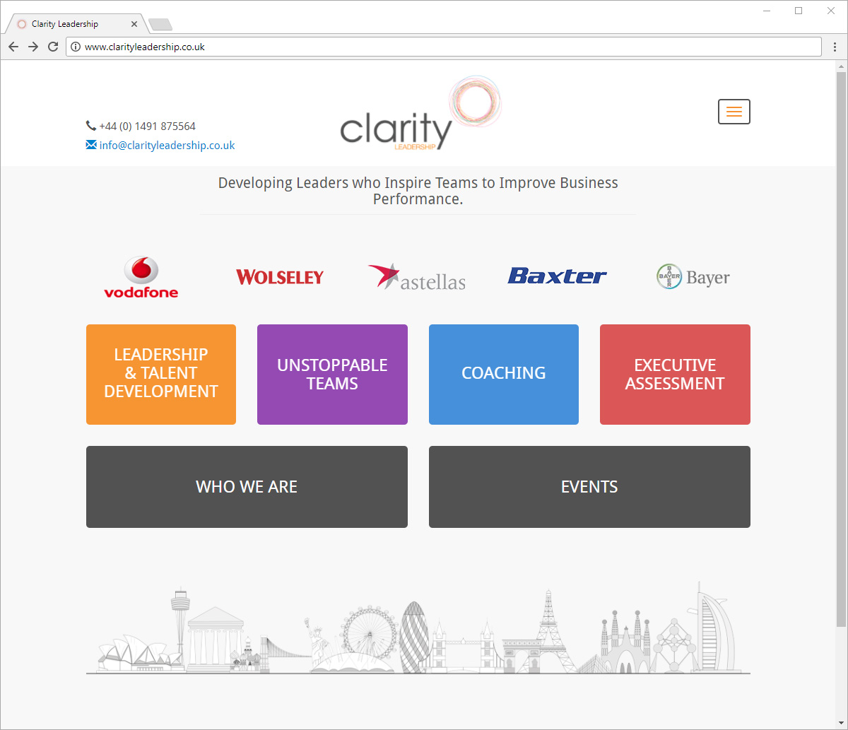 Computer screen preview of Clarity Leadership website