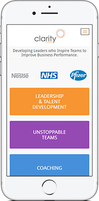 Mobile phone screen preview of Clarity Leadership website