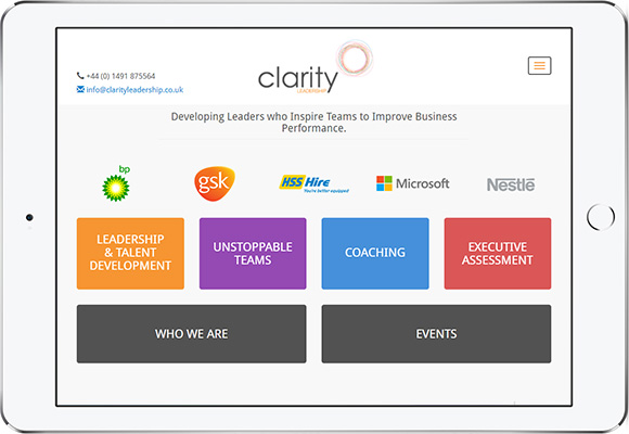 Tablet screen preview of Clarity Leadership website