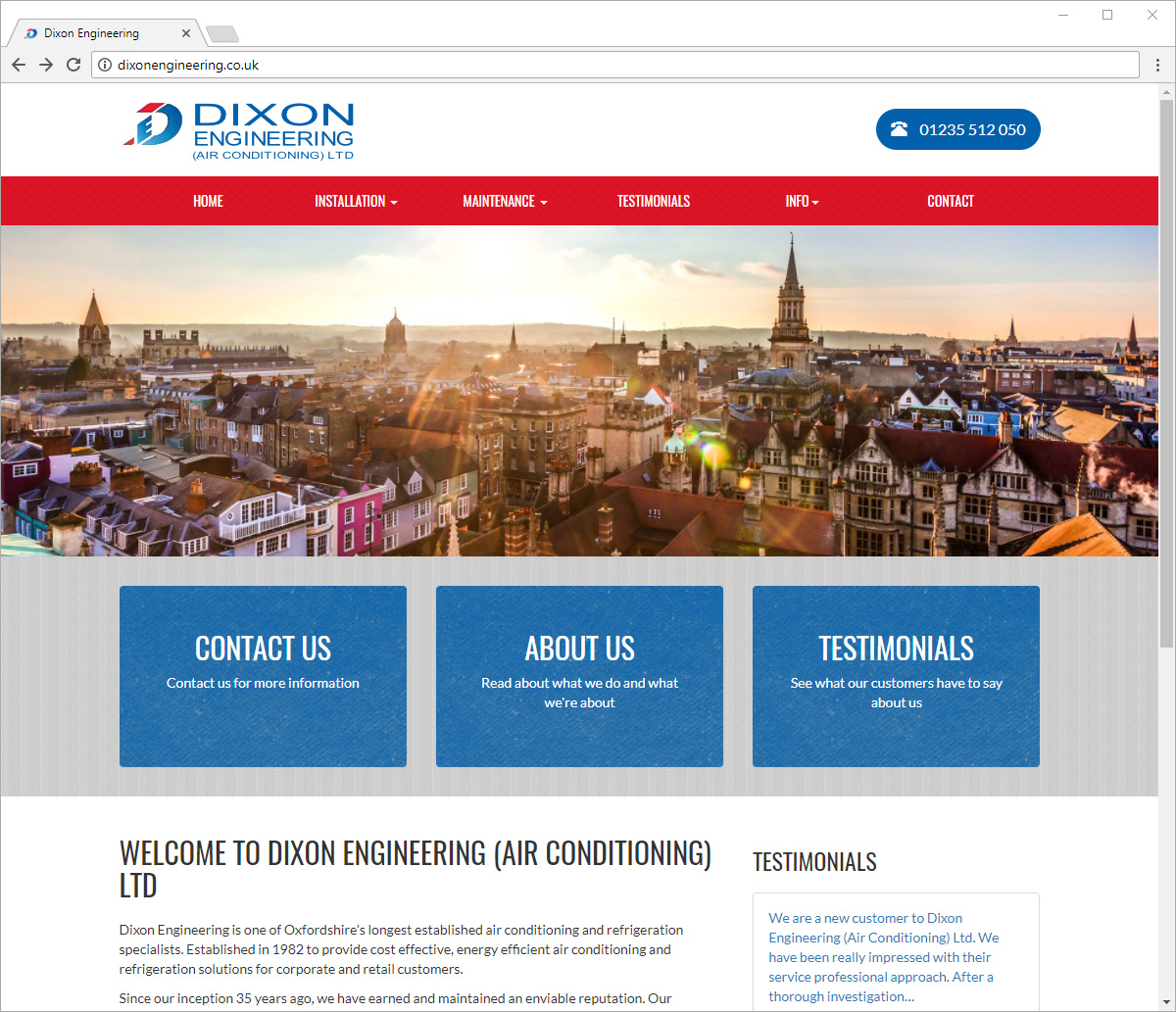Computer screen preview of Dixon Engineering website