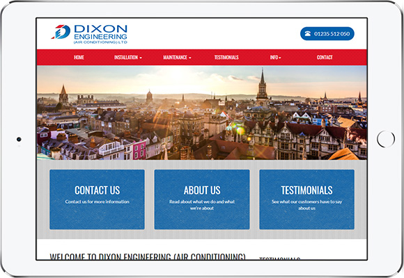 Tablet screen preview of Dixon Engineering website