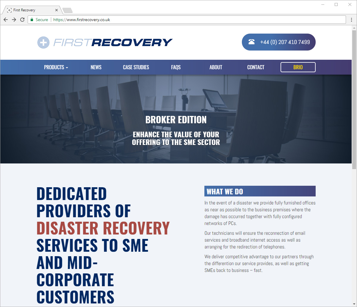 Computer screen preview of First Recovery website