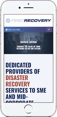 Mobile phone screen preview of First Recovery website