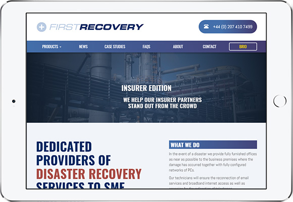 Tablet screen preview of First Recovery website